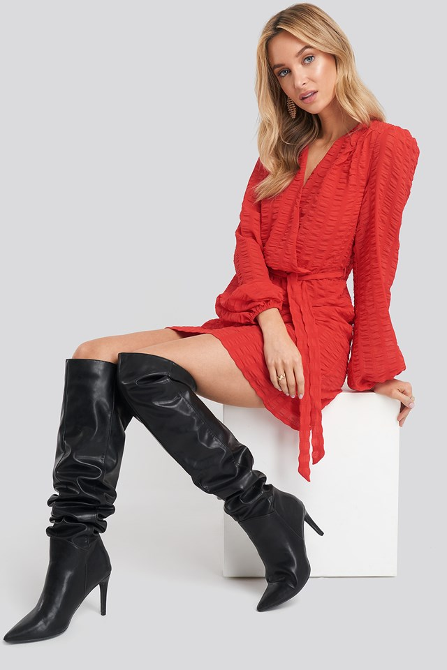 Structured Overlap Mini Dress Red
