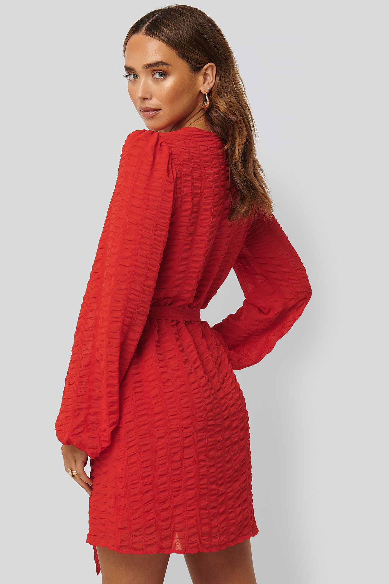 Red Structured Overlap Mini Dress