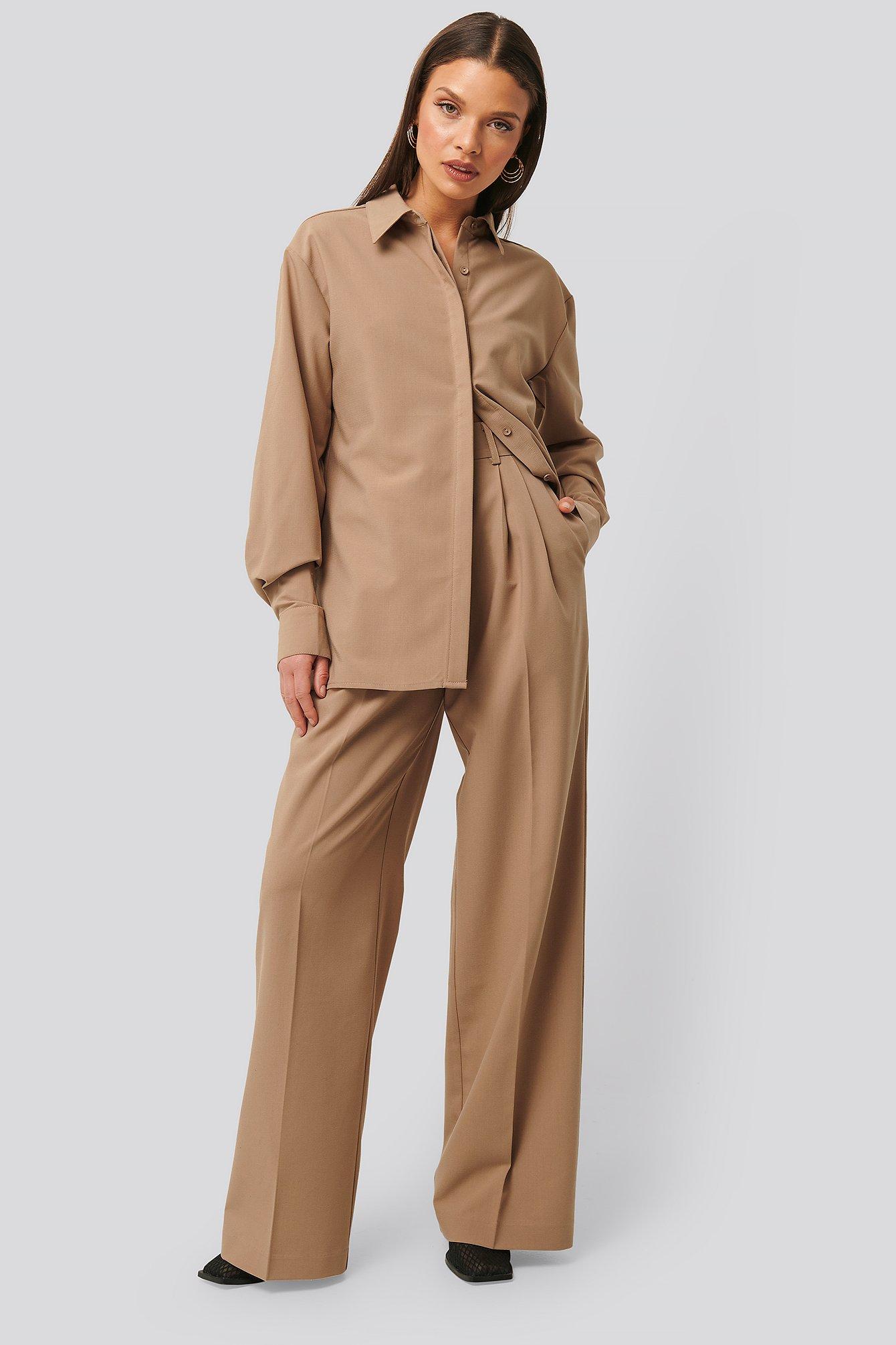 na-kd classic -  Strukturierte Anzughose - Beige