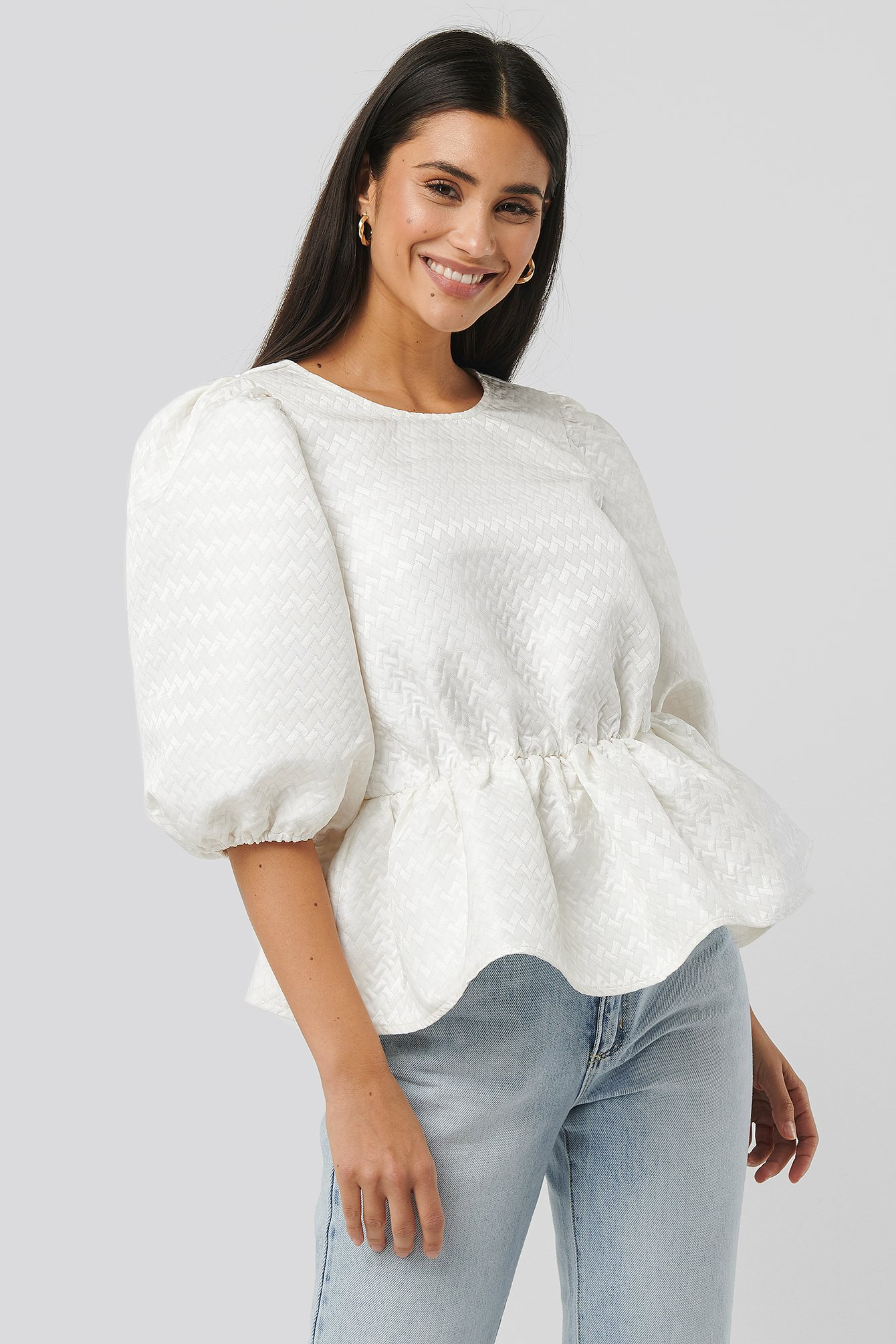 White Structured Puff Blouse