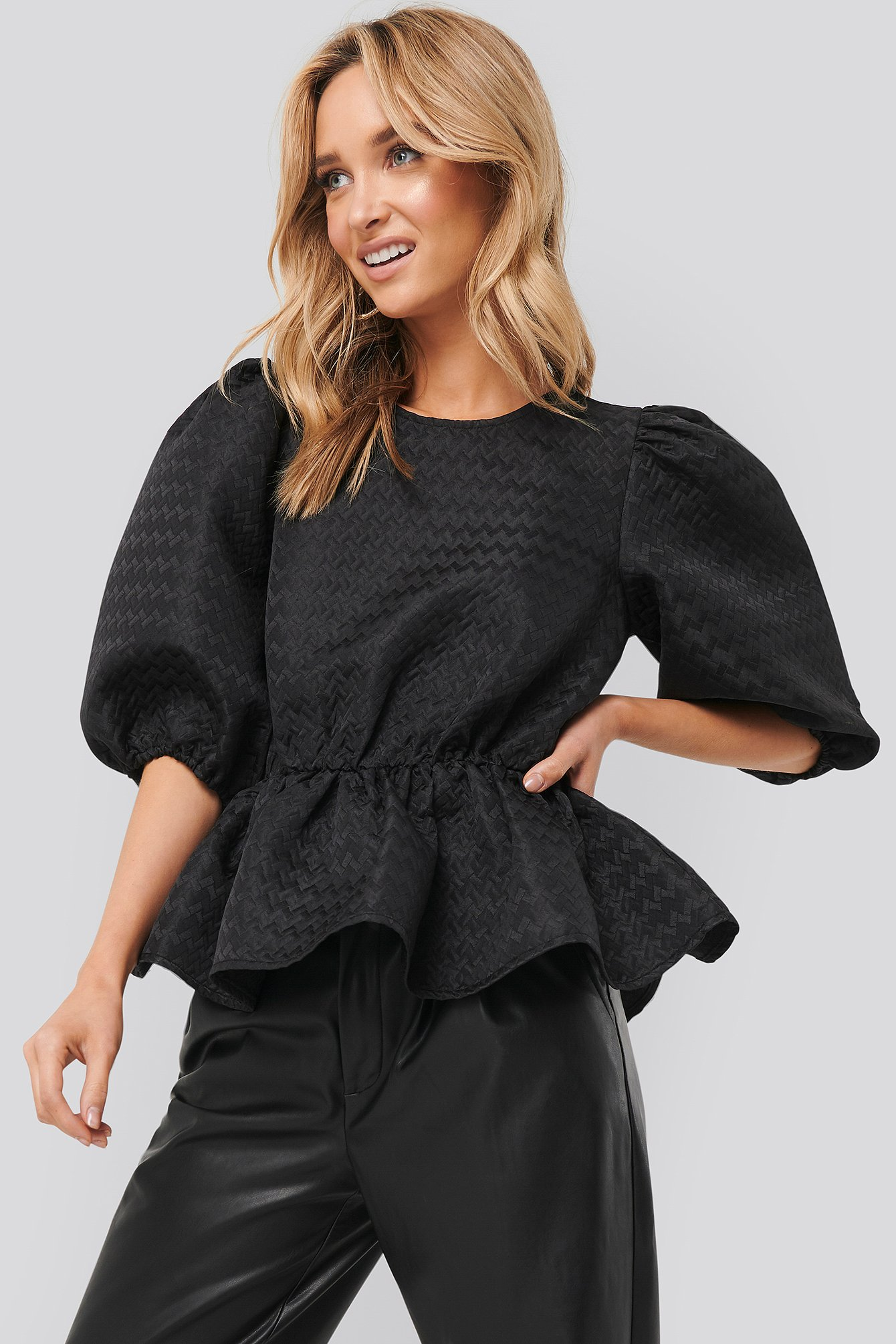 Black Structured Puff Blouse