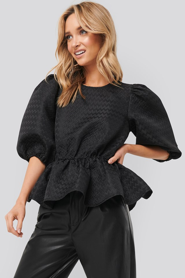 Structured Puff Blouse Black
