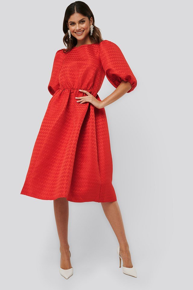 Structured Puff Dress Red