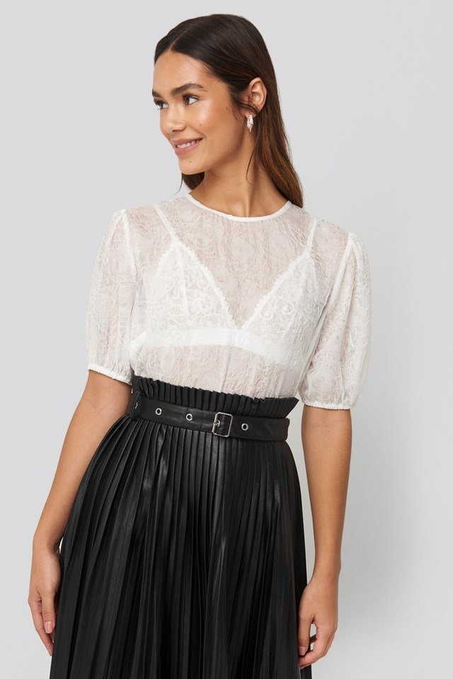 Structured Rose Puff Blouse White