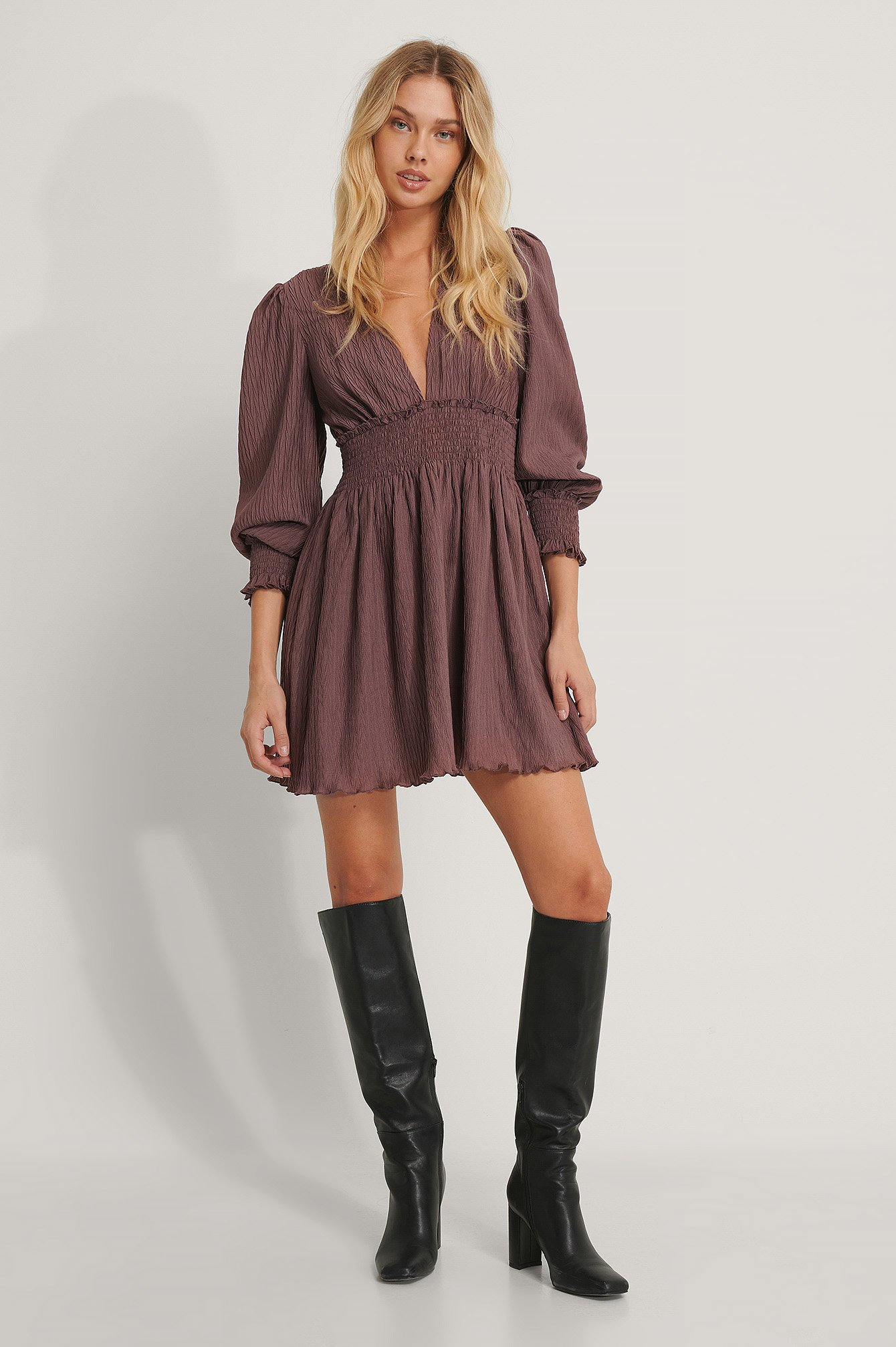 Rose Taupe Structured Smock Waist Dress
