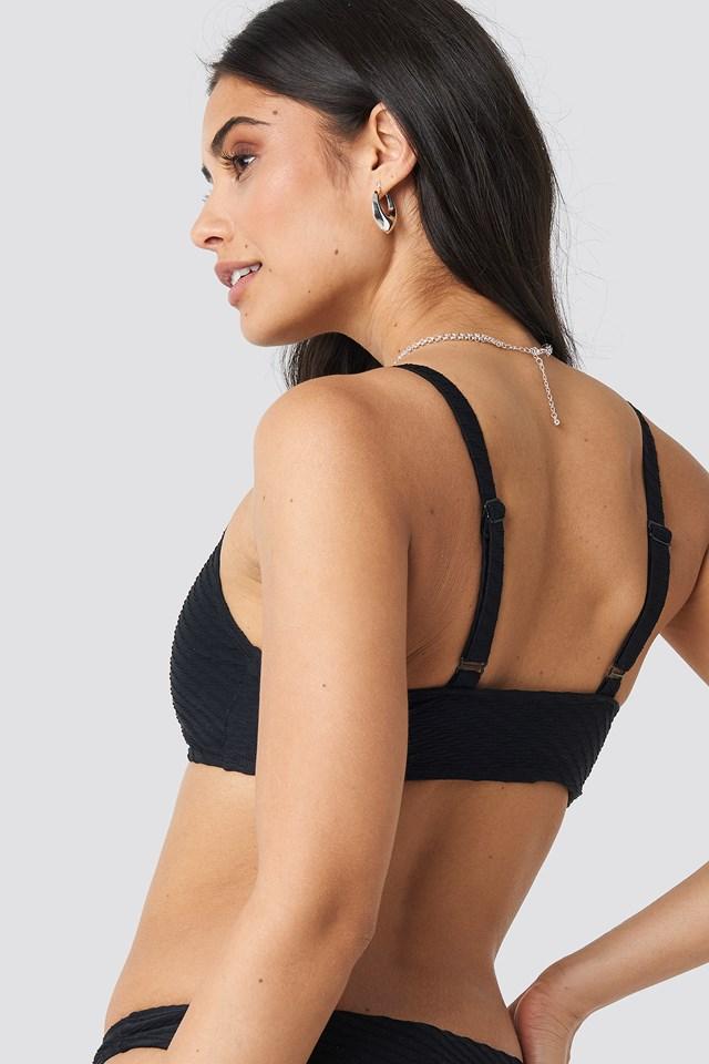 Structured Sporty Straight Bikini Top Black