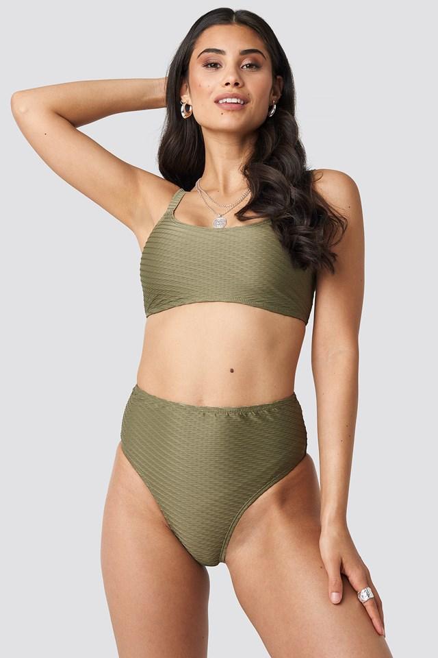 Structured Sporty Straight Bikini Top Khaki