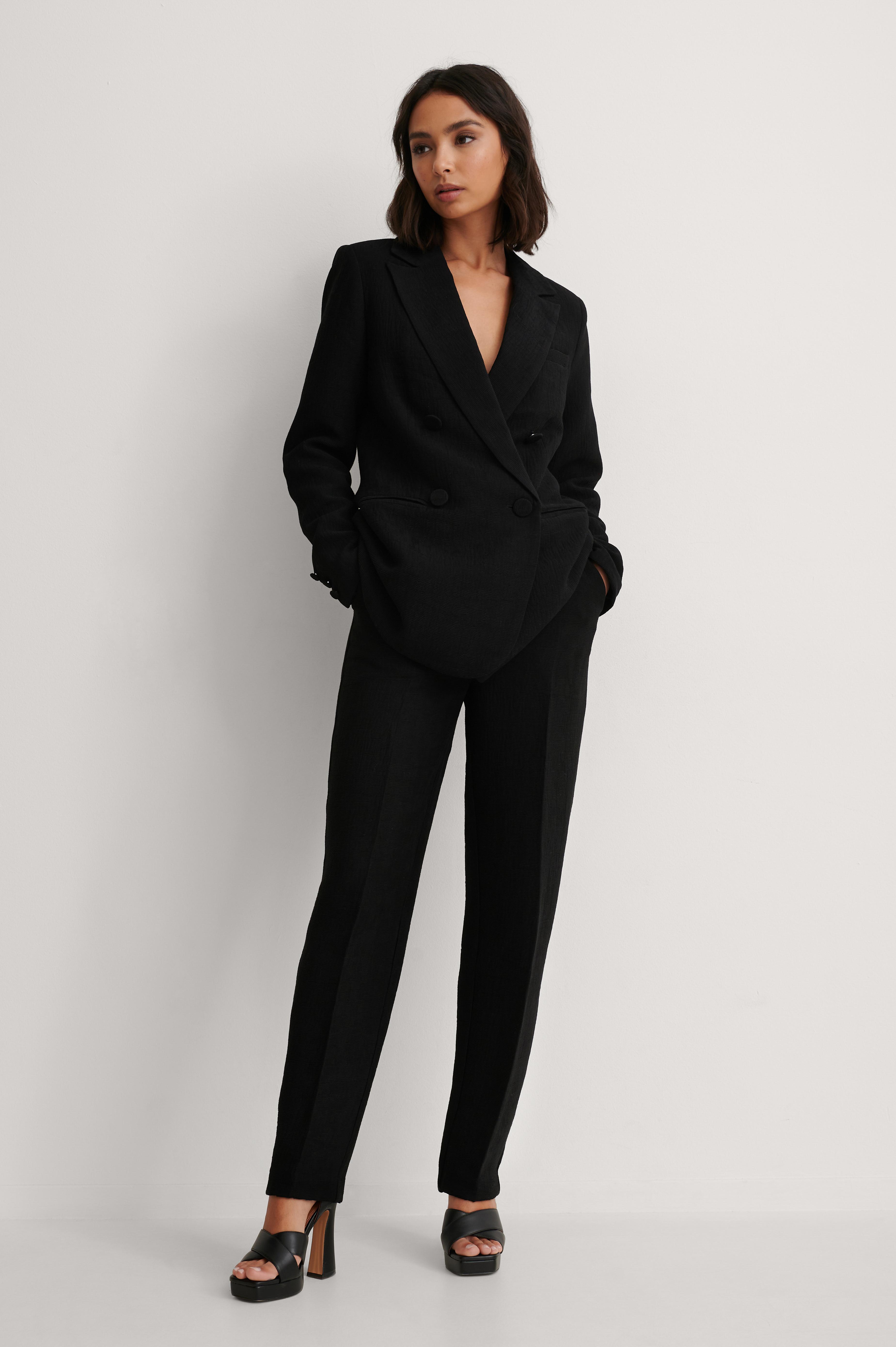 na-kd classic -  Strukturierte Anzughose - Black
