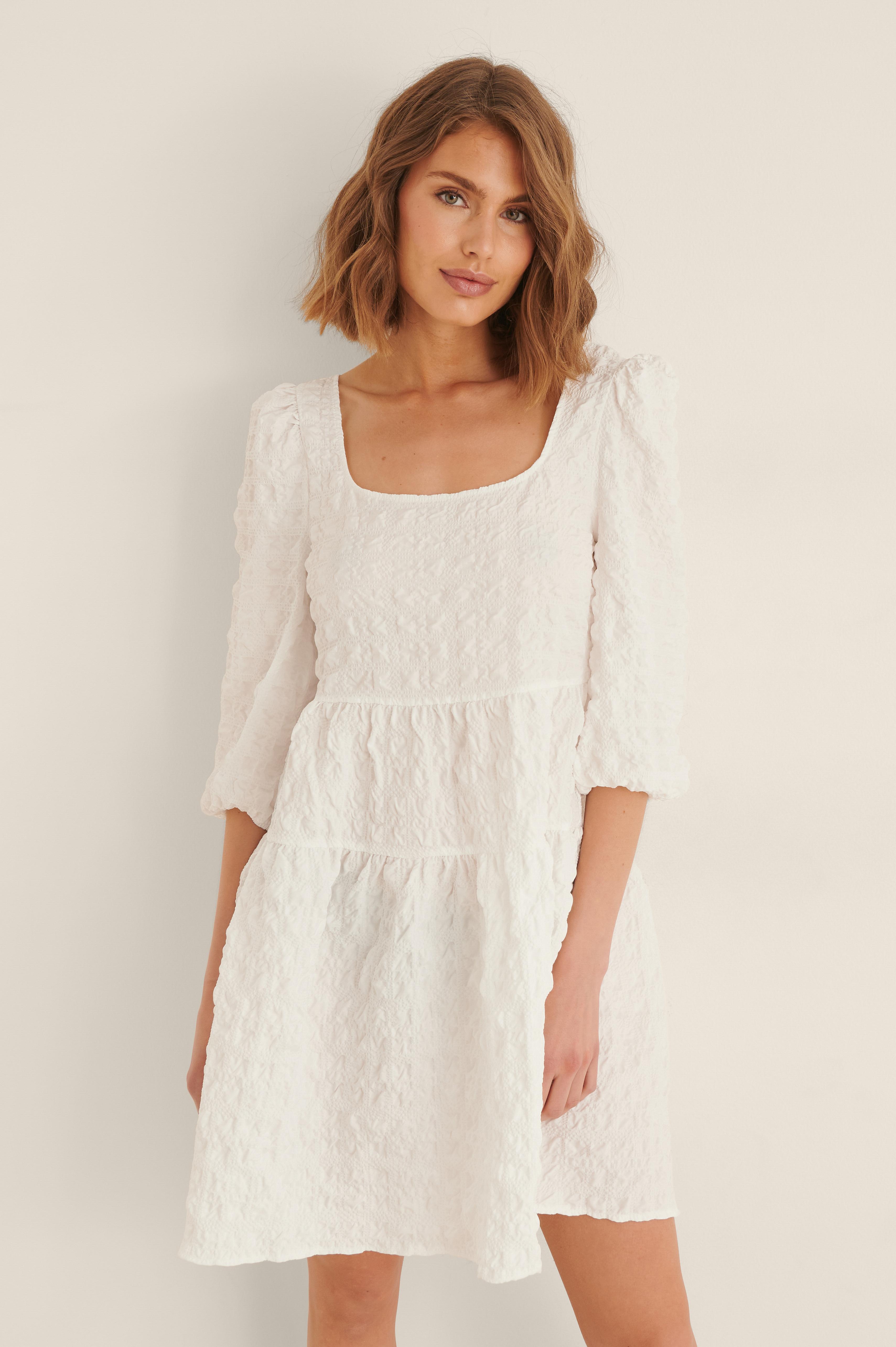 Na-kd Structured Tie Back Mini Dress - White