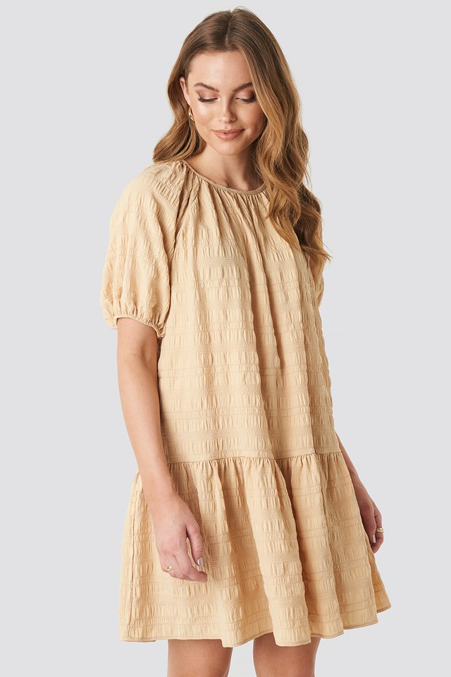 Structured Tiered Mini Dress Beige