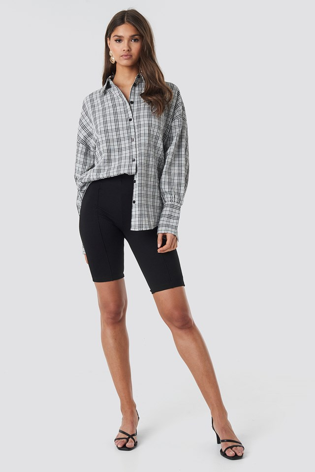 Structured Wide Cuff Checkered Shirt Black/White