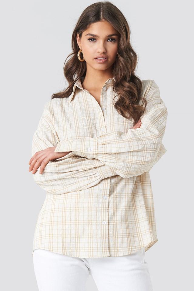 Structured Wide Cuff Checkered Shirt Beige/White