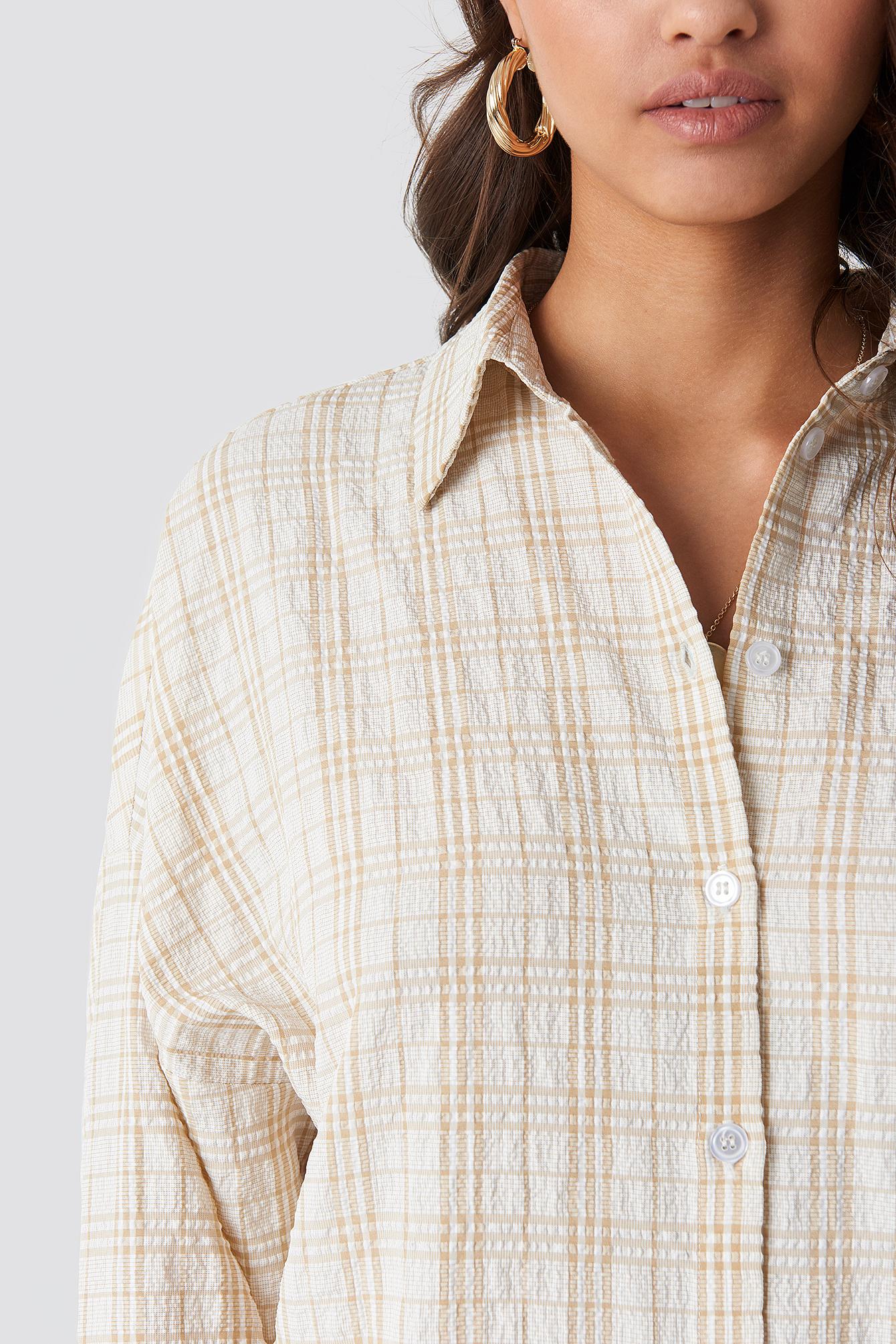 Structured Wide Cuff Checkered Shirt NA-KD.COM
