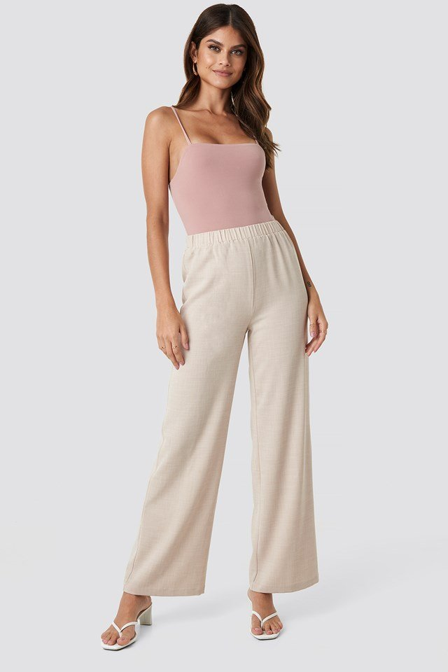 Structured Wide Pants Light Beige
