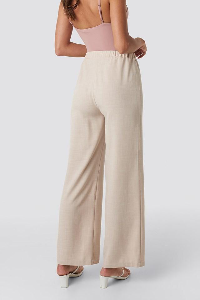 Structured Wide Pants Light Beige