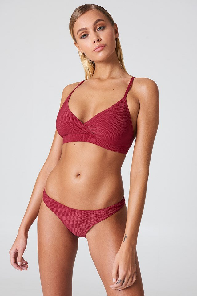 Structured Wrap Bikini Top Pink Rose