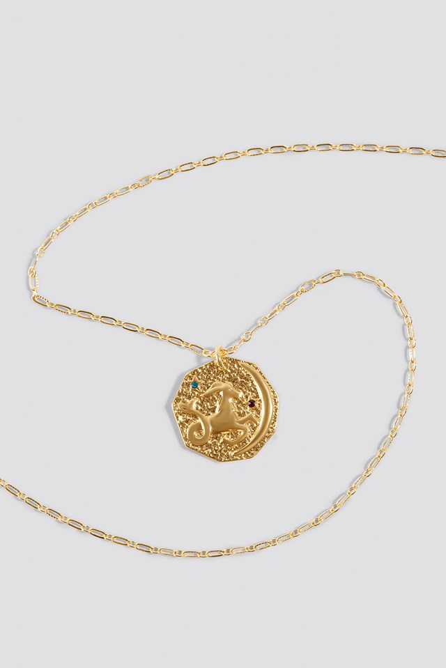 Structured Zodiac Capricorn Necklace Gold