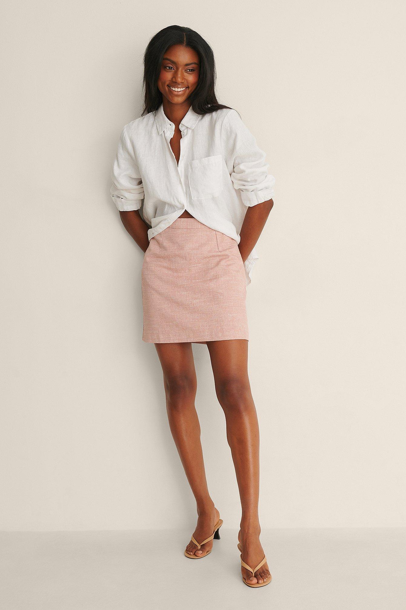 NA-KD Classic Struktureret Nederdel - Pink