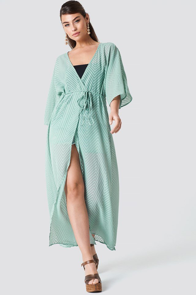 Structured Chiffon Coat Dress Dusty Green