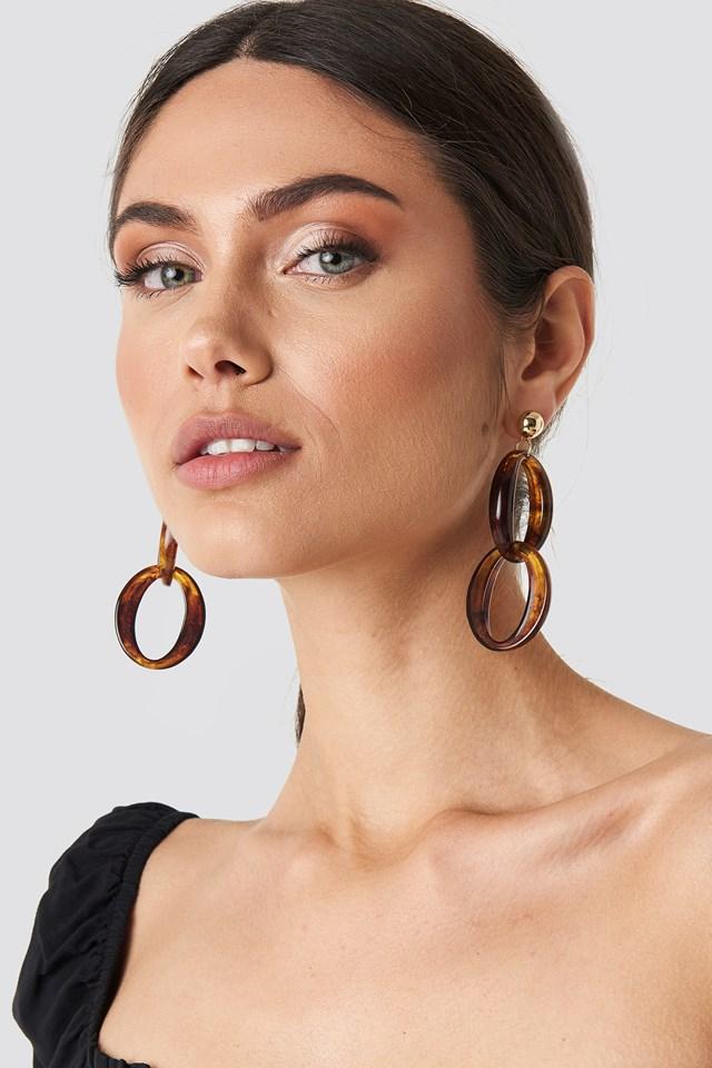 Stud Chain Resin Earrings Tortoise