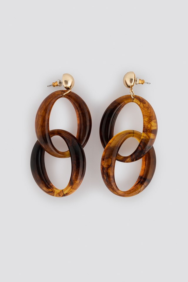 Stud Chain Resin Earrings Tortoise