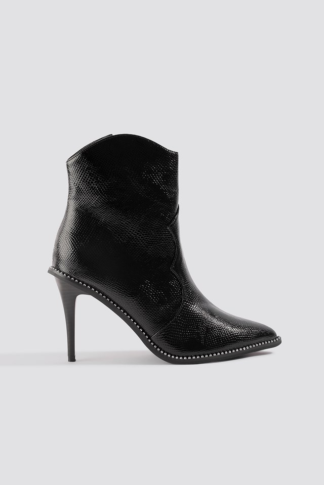 Studded Western Detail Heeled Ankle Boot Black
