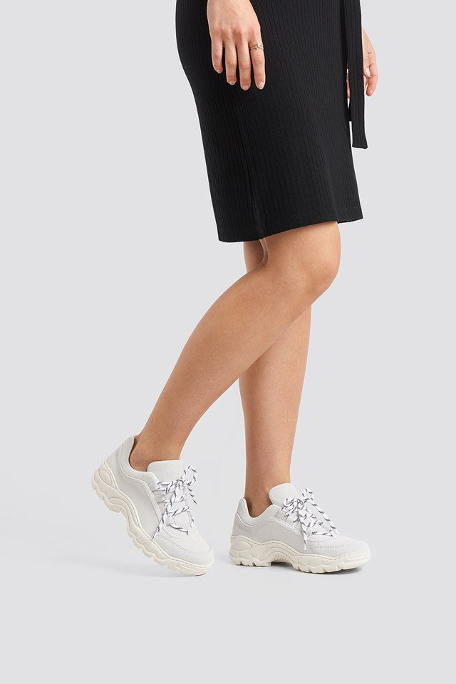 Suede Leather Profile Trainers White
