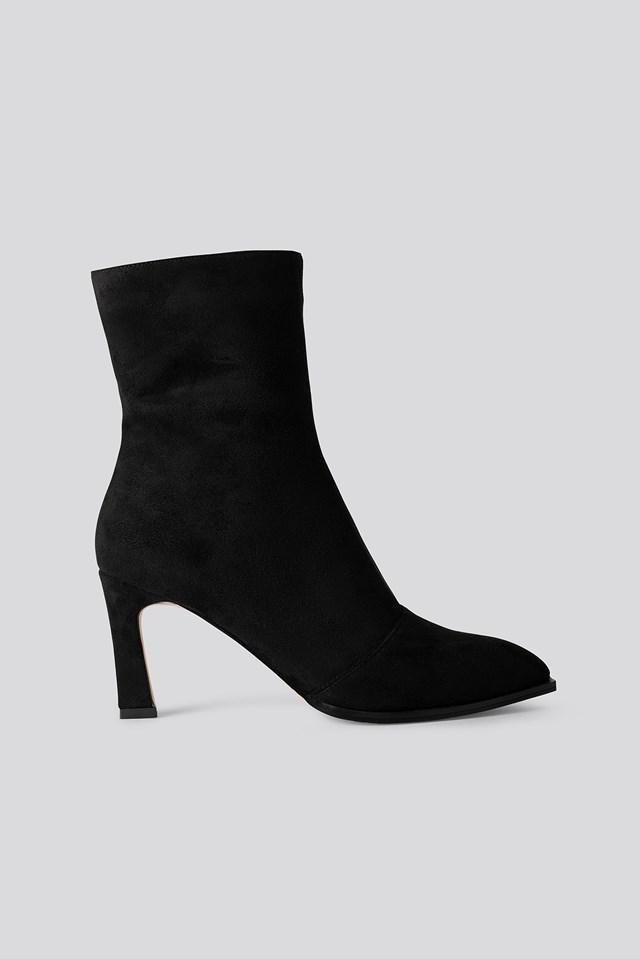 Suede Look Heeled Boots Black
