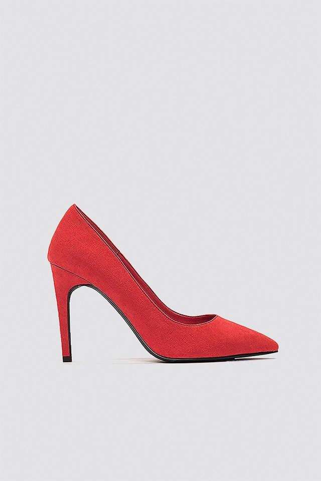 Suede Mid Heel Pumps Red