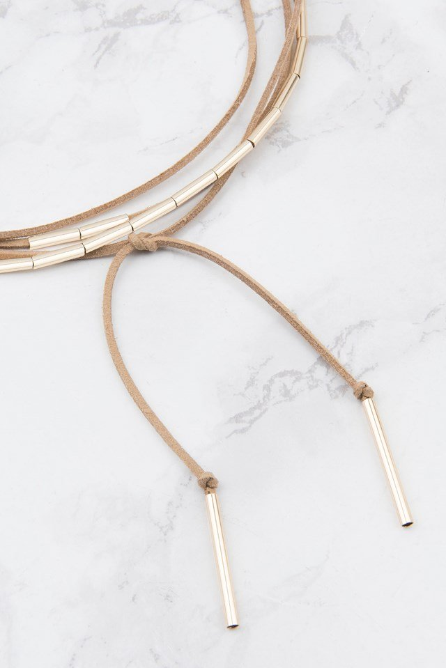 Suede Necklace With Metal Details Beige