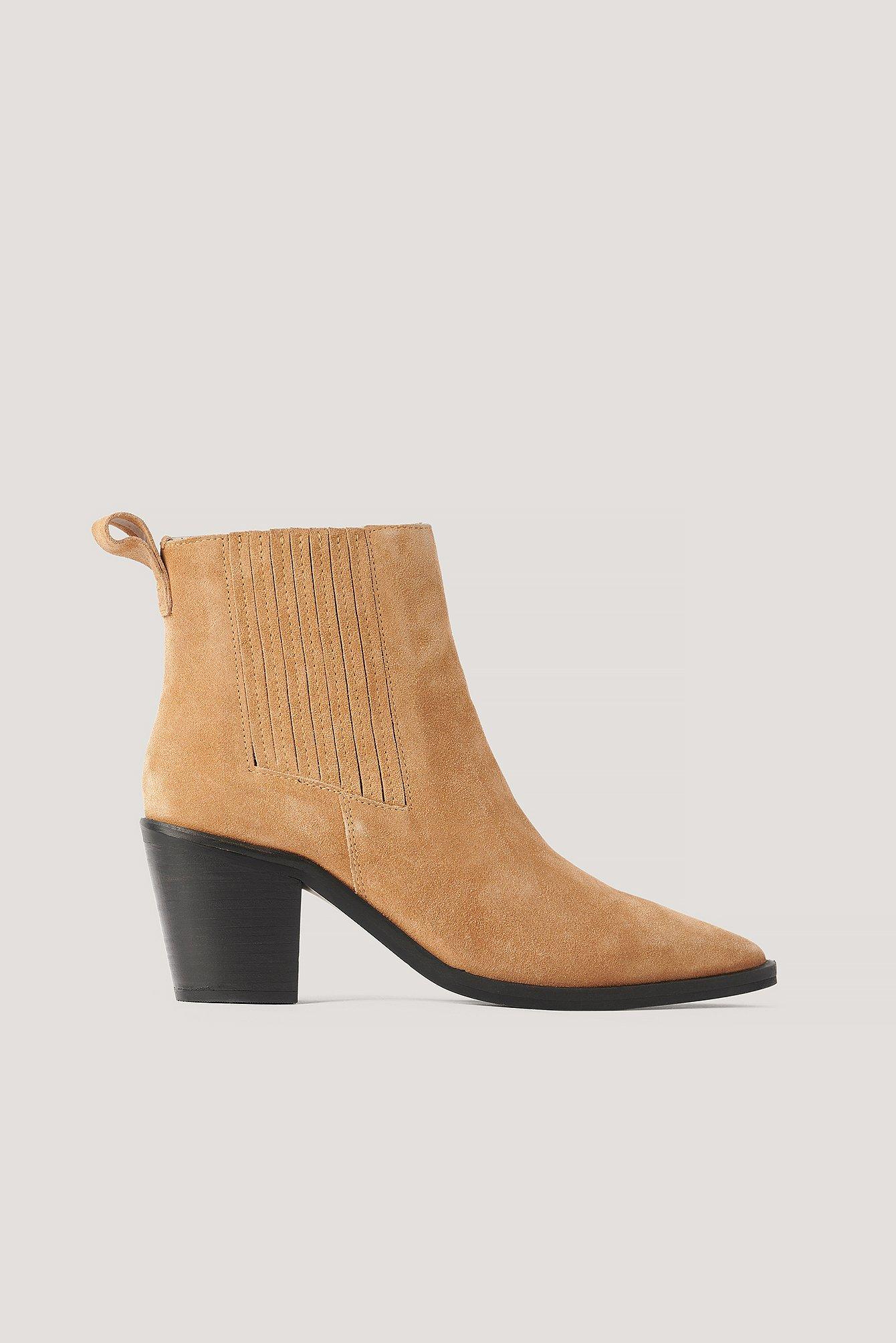 NA-KD Shoes Mokkanahkaiset Pistol-Saappaat - Brown