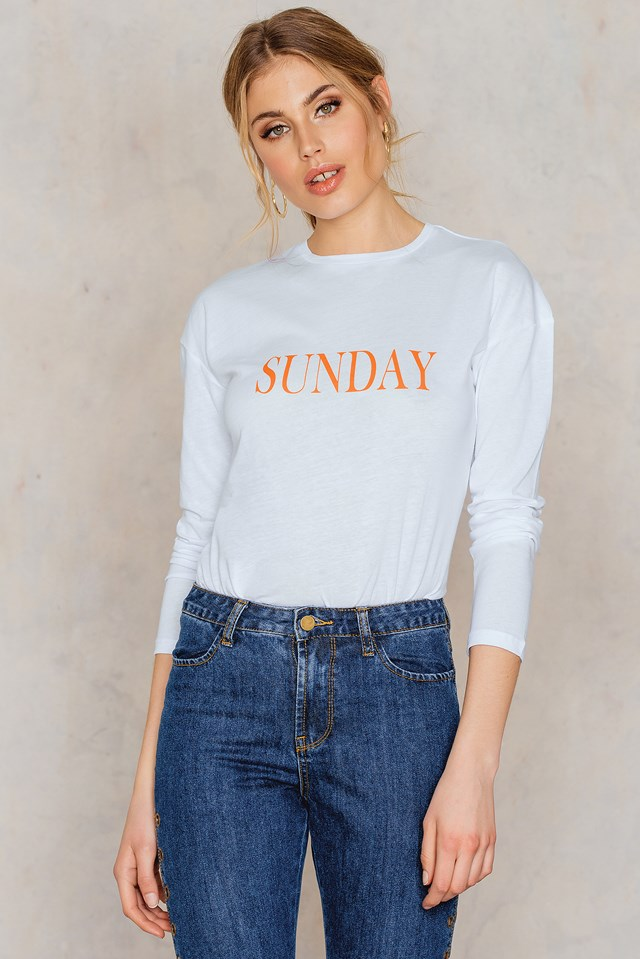 Sunday Long Sleeve Top White
