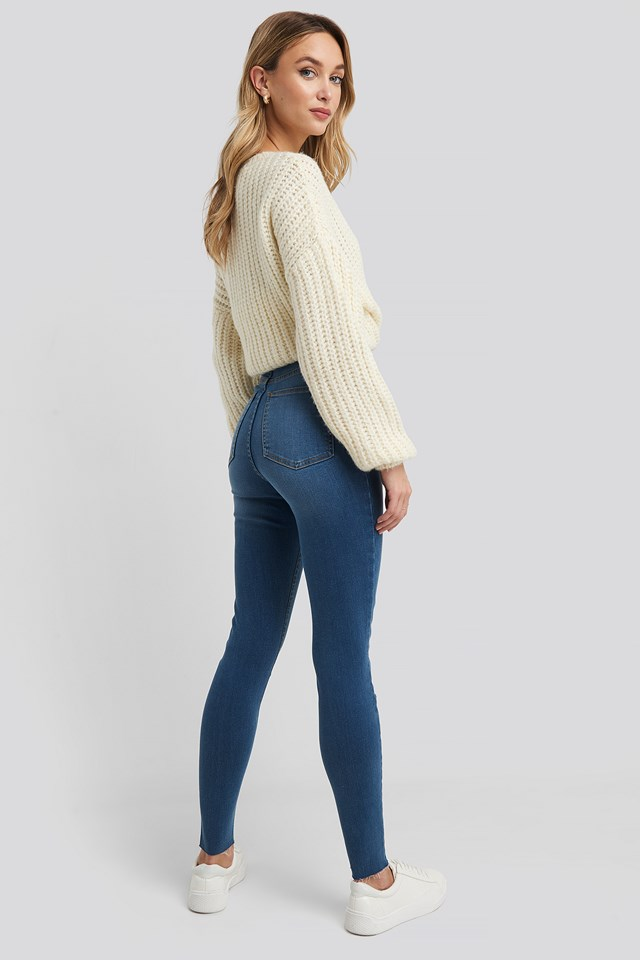 Super High Waist Skinny Jeans Mid Blue