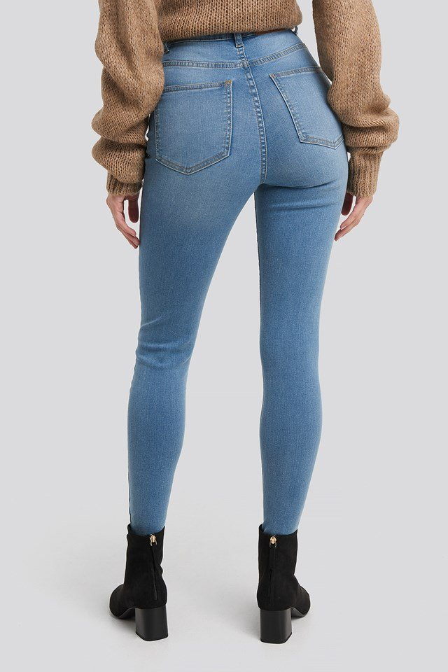 Super High Waist Skinny Jeans Light Blue