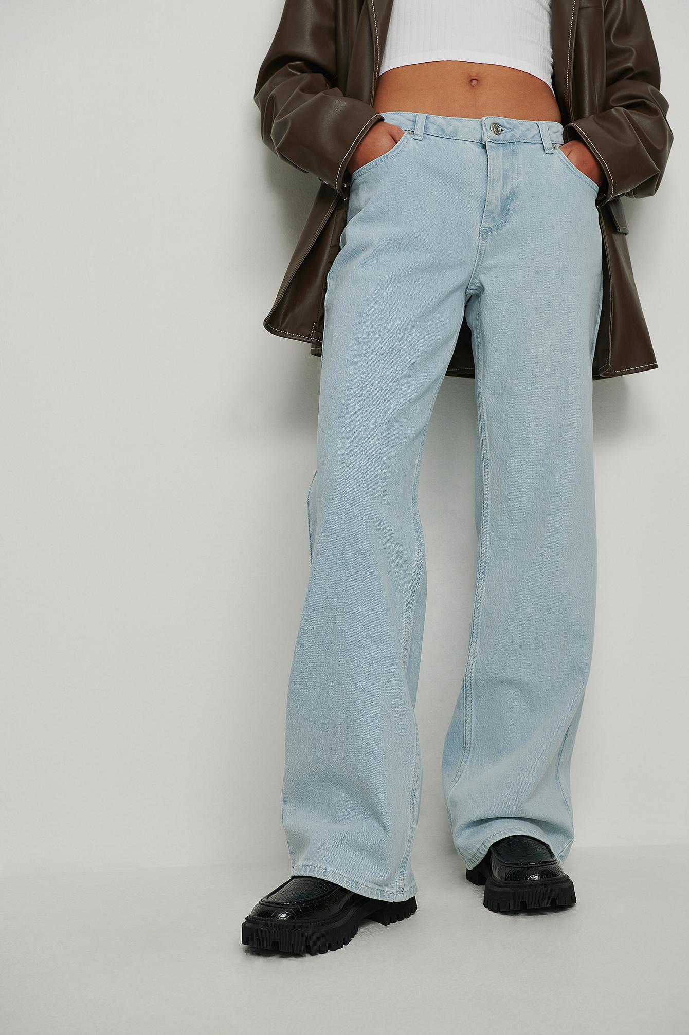 NA-KD Trend Økologiske y2K jeans med superlav talje - Blue