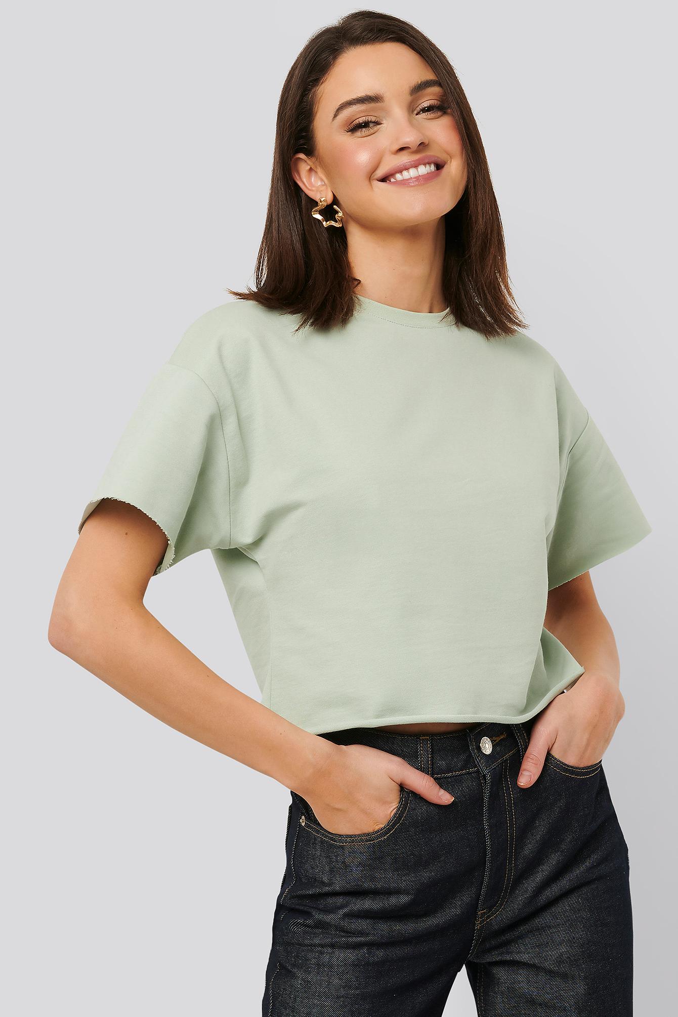 na-kd basic -  Sweatshirt Tee - Green