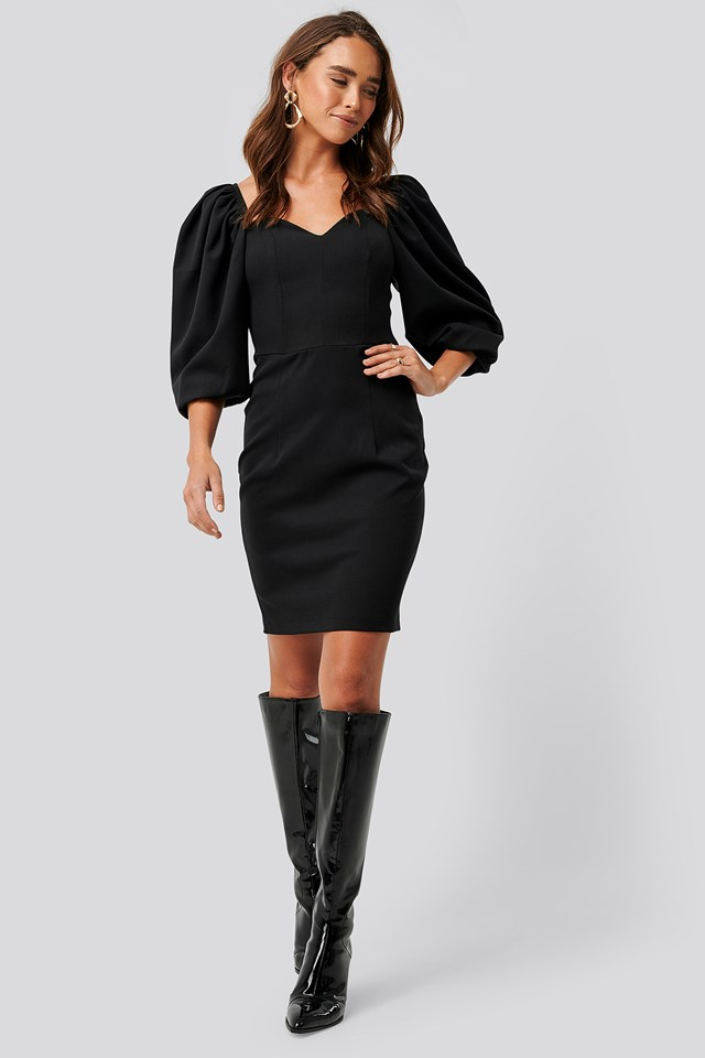 Sweetheart Mini Dress Black
