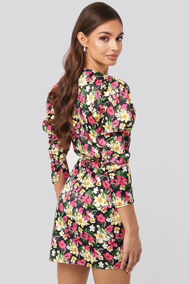Sweetheart Neck Wrap Dress Floral Print