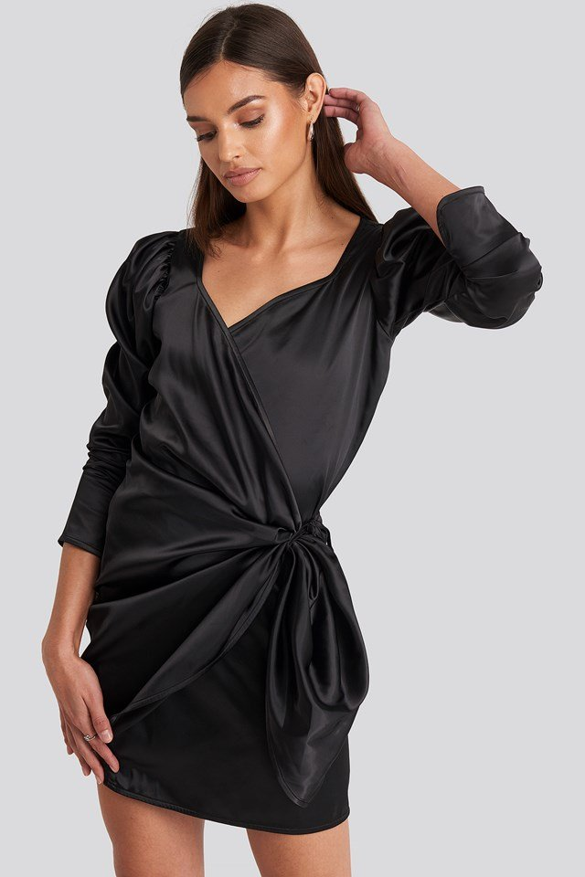 Sweetheart Neck Wrap Dress Deep Black