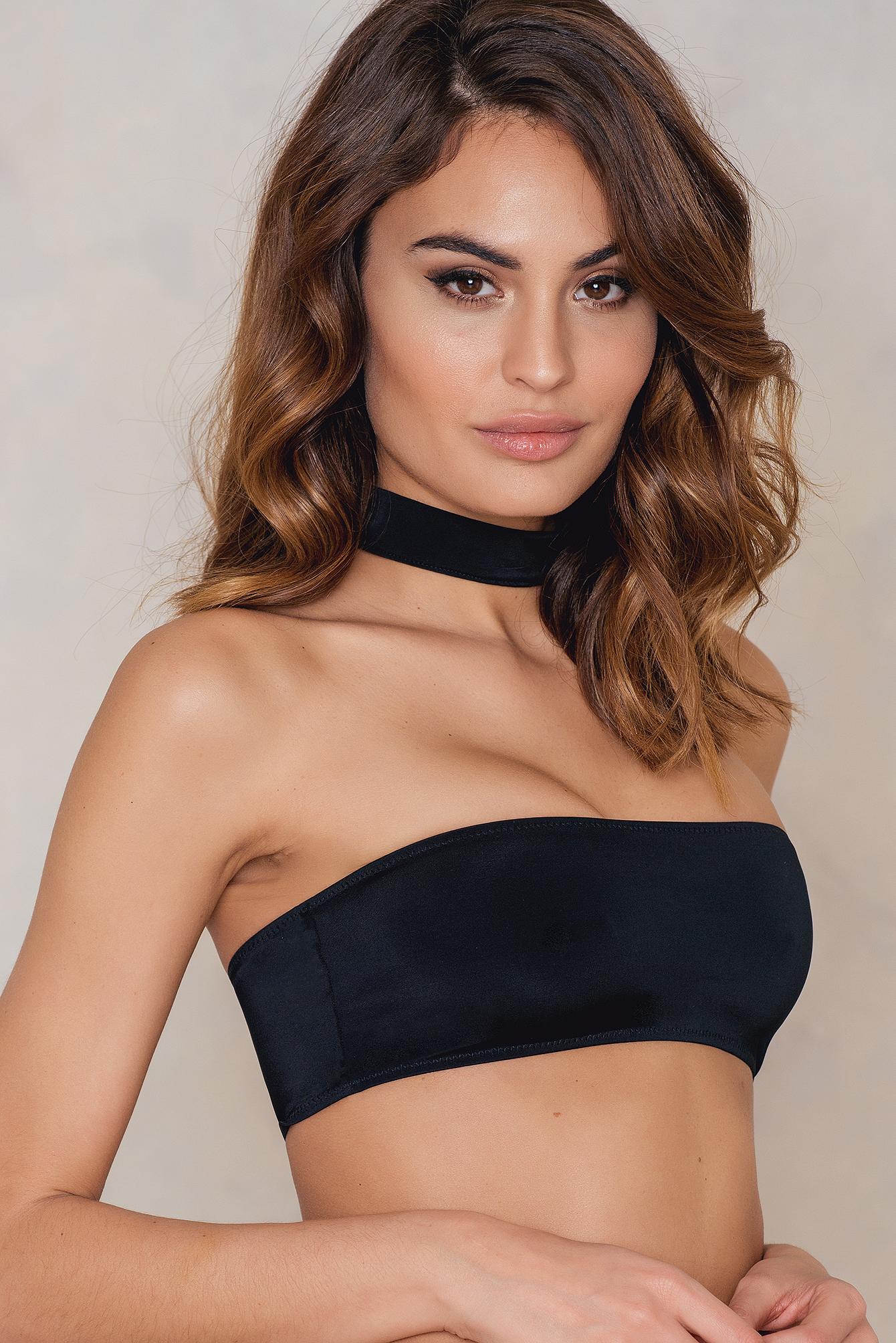 na-kd swimwear -  Choker Bandeau Bikini Top - Black