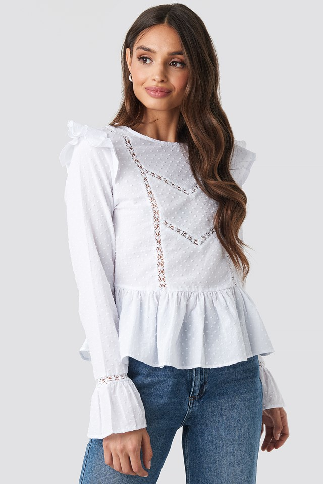 Swiss Dot Long Sleeve Ruffle Top White