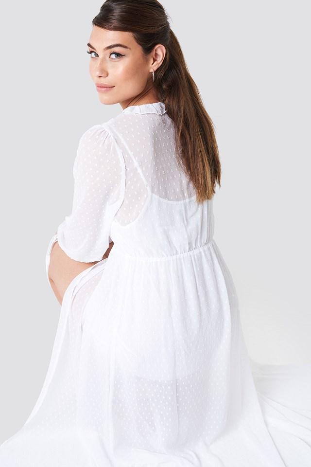 Swiss Dot Ruffle Maxi Dress White