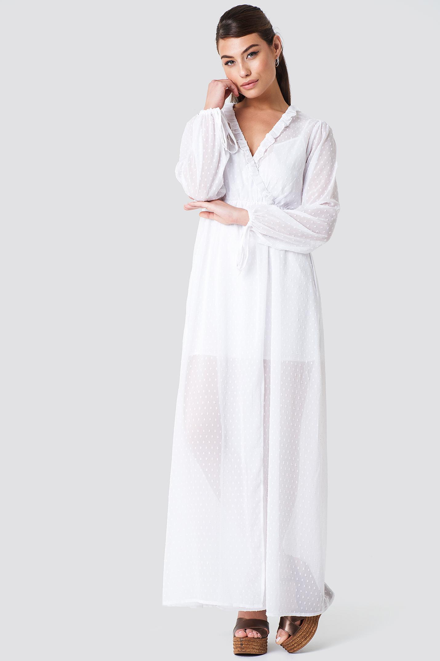 Sukienka maxi z falbaną NA-KD.COM