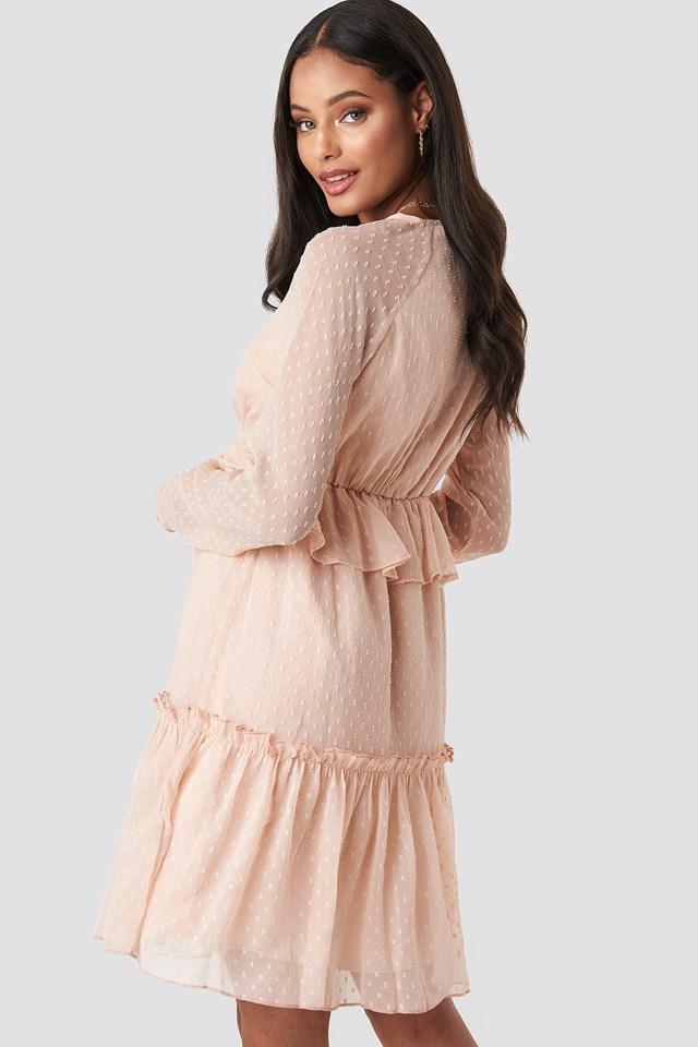 Swiss Dot V-Neck Flounce Dress Dusty Pink