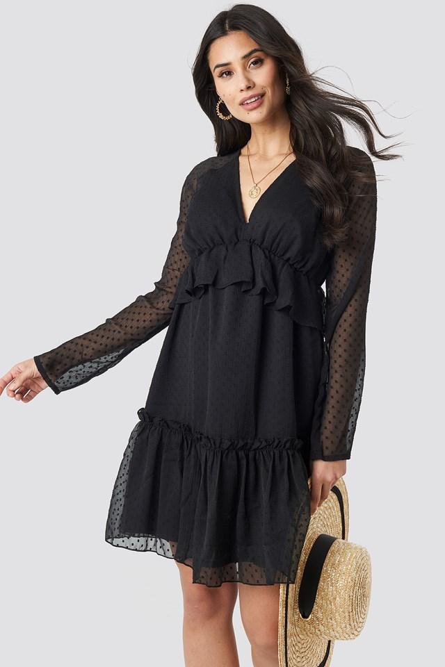 Swiss Dot V-Neck Flounce Dress Black