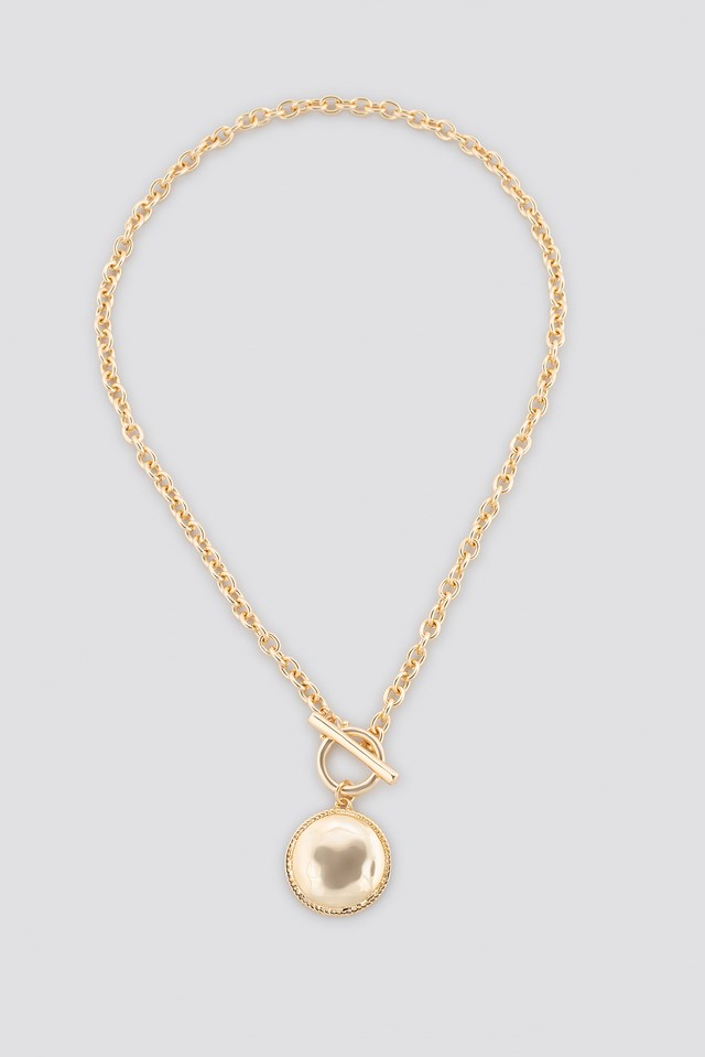 T-Bar Big Coin Necklace Gold