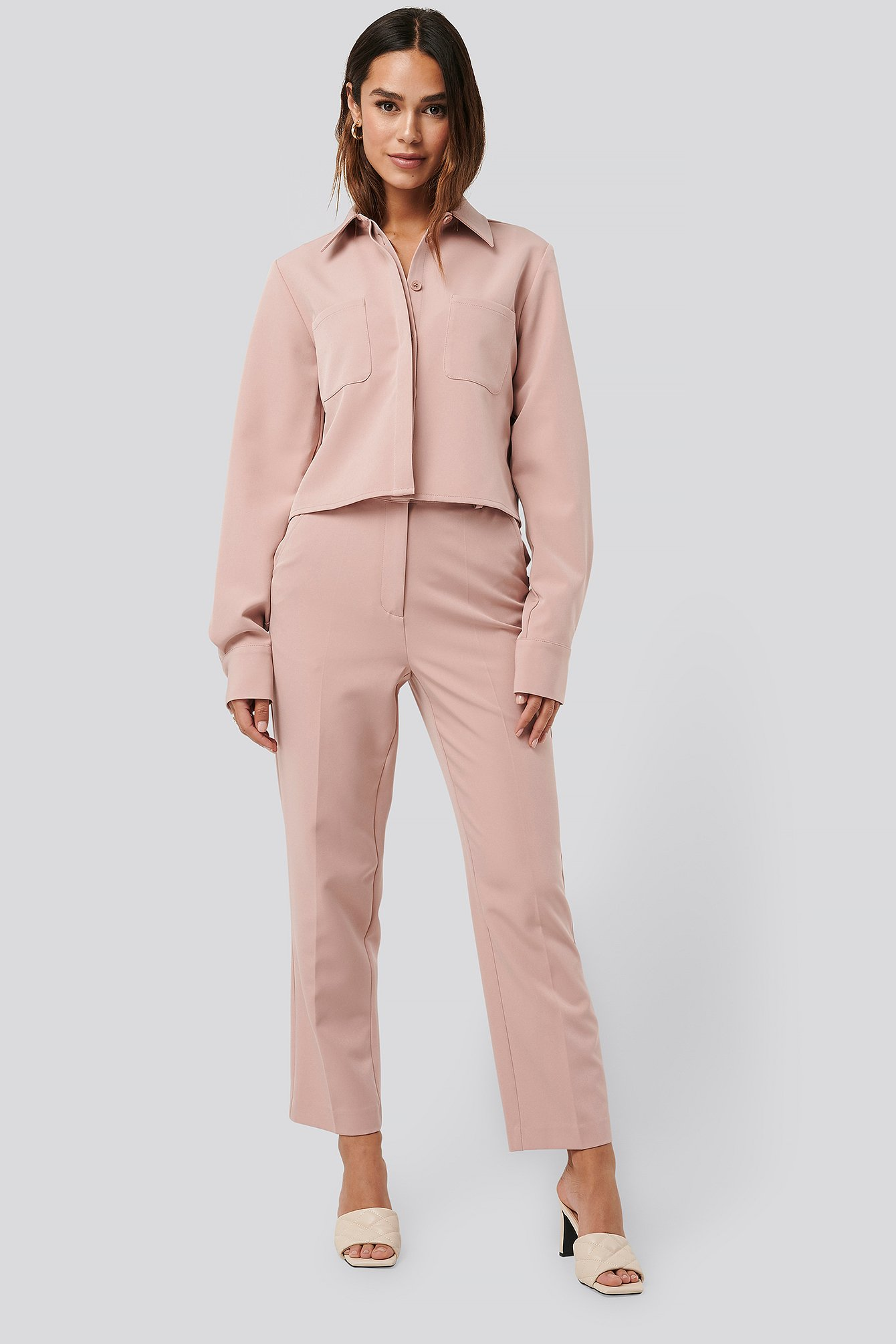 na-kd classic -  Tailored Cropped Suit Pants - Pink