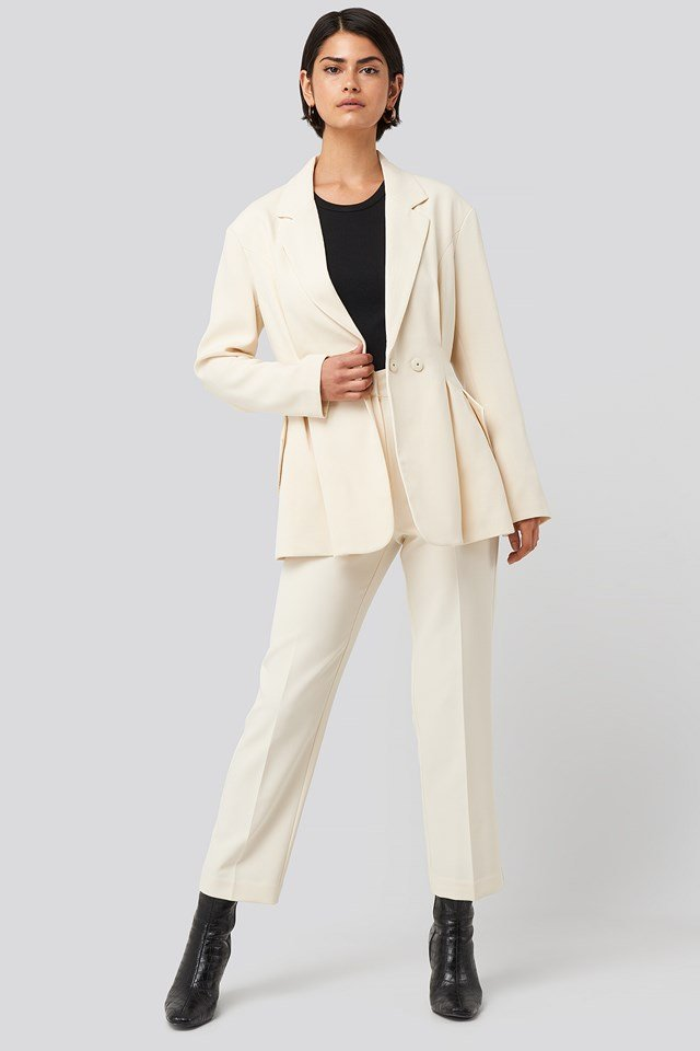 Tailored Cropped Suit Pants Cream