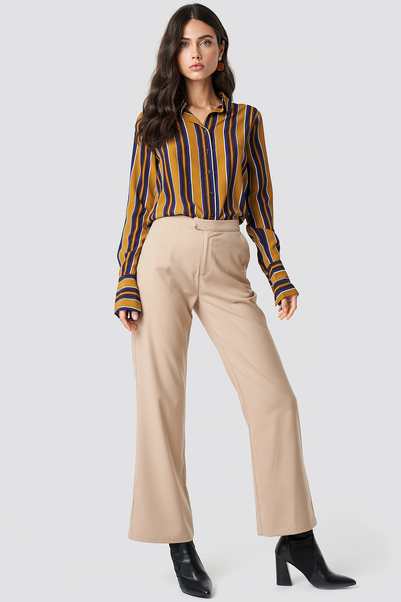 Beige Tailored Flared Pants