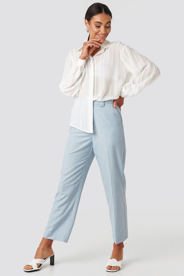 Tailored Mid Rise Suit Pants Light Blue